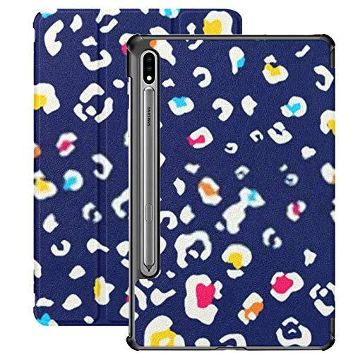 Funda Galaxy Tablet S7 Plus de 12,4 Pulgadas 2020 con Soporte para bolígrafo S, patrón de Estampado de Leopardo Colorido Transparente, Funda Protectora Tipo Folio con Soporte Delgado para Samsung