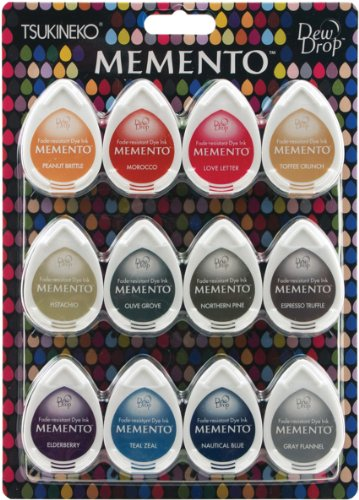 Tsukineko Tinten Memento Dew Drop 12er Packung Snow Cones, Synthetic Material, Mehrfarbig, 21.6 x 15.2 x 2.5 cm