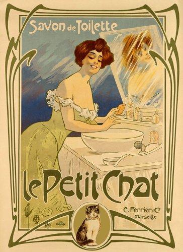 "Lady Woman Cat Le Petit Chat Savon de Toilette Soap France French Vintage Poster Repro 16"" X 22"" Image Size Vintage Poster Reproduction. We Have Other"