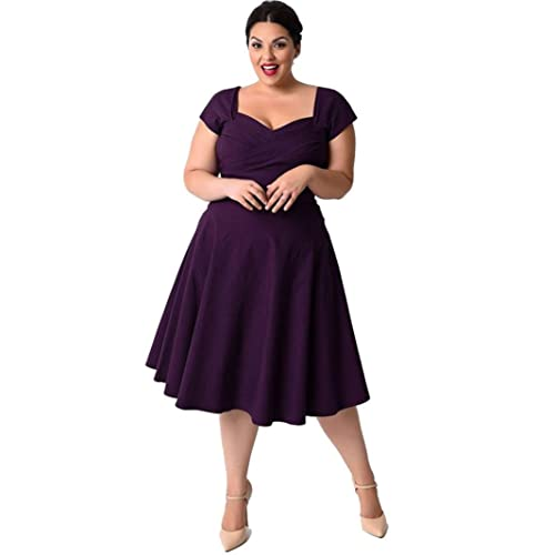 TANLANG Womens 1950s Vintage Rockabilly Swing Stretchy Dress Puffy Swing Casual Party Dress Bodycon Party Dress
