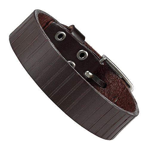 Urban-Jewelry Bracelet manchette en cuir véritable pour homme Style urbain classique