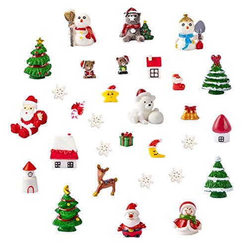 Christmas Theme Resin Miniature Fairy Garden Dollhouse Decoration Ornaments DIY Kit, Set of 30...
