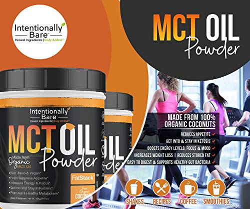 Intentionally Bare MCT Oil Bundle – Organic – High C8 Caprylic Acid - Home and Away - Appetite Suppressant, Metabolism Boosting, Helps with Intermittent Fasting and Ketosis 8