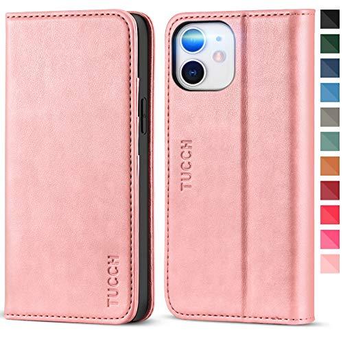 TUCCH iPhone 12 Mini Hülle, 12 Mini Lederhülle, TPU Handyhülle [Aufstellfunktion] [Kartenfach] [Magnetverschluss], Stoßfeste Etui für iPhone 12 Mini (5,4 Zoll) Rosagold