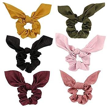 Jaciya 6 Pack Hair Elastic Scrunchies Chiffon Hair Scrunchies Hair Bow Chiffon Ponytail Holder Bobbles Soft Elegant Bow Scrunchies for Women Hair Ties 6 Colors Scrunchies with Ribbon
