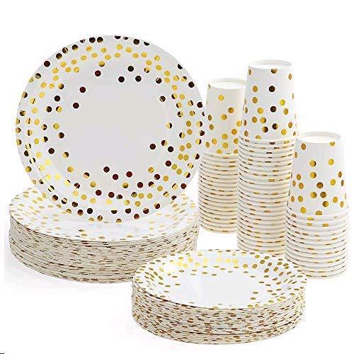 esonmus Vajilla Desechable 180 Piezas (60pcs 9oz Paper Cups + 60pcs 7
