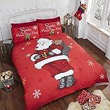 Babbo Natale fiocco di neve bambini Trapunta Matrimoniale Copripiumino Matrimoniale e 2federe biancheria da letto Set, Rosso, King