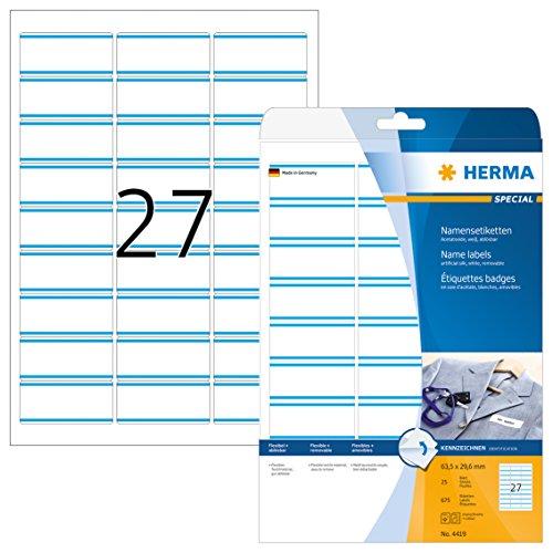 HERMA 4419 Namensetiketten DIN A4 ablösbar (63,5 x 29,6 mm, 25 Blatt, Acetatseide) selbstklebend, bedruckbar, rückstandsfrei abziehbare Namensaufkleber, 675 Klebeetiketten, weiß