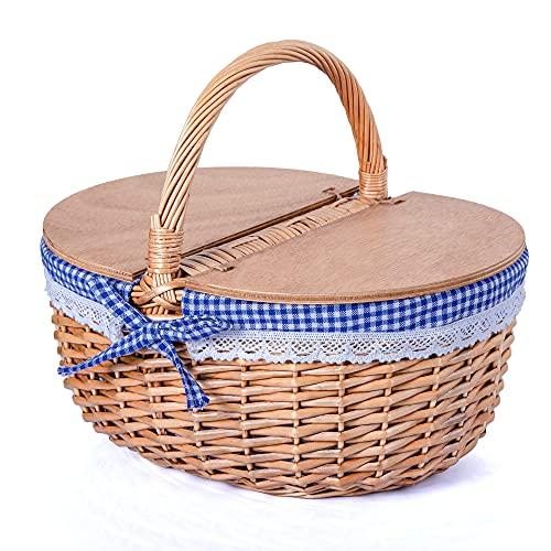 SatisInside Cesta de mimbre para pícnic con tapas de madera y forro lavable, mango estacionario, color azul