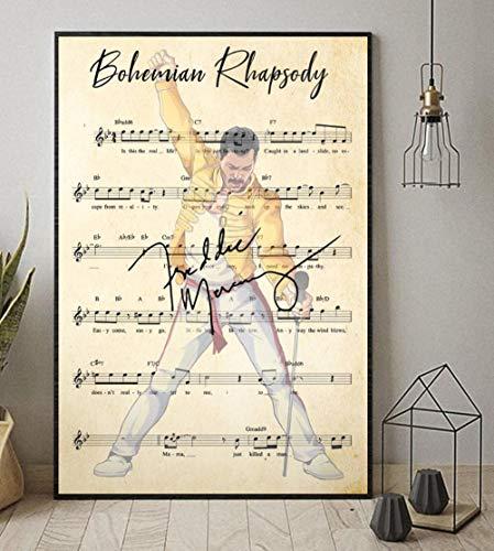 Bohemian Rhapsody Chord Lyrics Freddie Mercury Portrait Poster Prints Sheet Music Wall Art Modern Canvas Pintura Home Cuadros Decor...