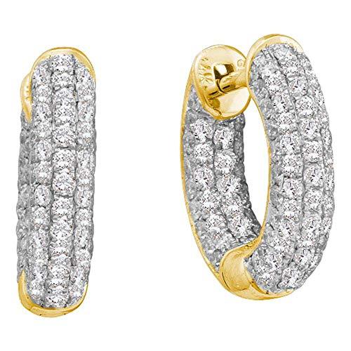 Jewels By Lux - Pendientes de oro amarillo de 14 quilates con diamantes redondos de 3/4 quilates en pavé (claridad I1-I2, color H-I)
