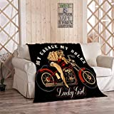 Ajckly American Antique Throw Blanket, Vintage Pin Up Girl Motorcycle and Playing Home Soft Flannel Cozy Warm Lightweight Bedding Blanket for Couch Sofa Camping, 60 x 80 Inches