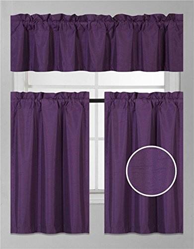 Elegant Home Collection 3 Piece Solid Color Faux Silk Blackout Kitchen Window Curtain Set with Tiers and Valance Solid Color Lined Thermal Blackout Drape Window Treatment #K3 (Purple)