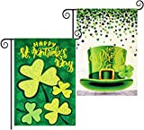 Roberly 2 Pack St Patricks Day Garden Flag, Double-Sided Happy St Patricks Day House Flag Green Hat Burlap Clovers Shamrocks Yard Home Holiday Decor Gifts(12.5'x18')