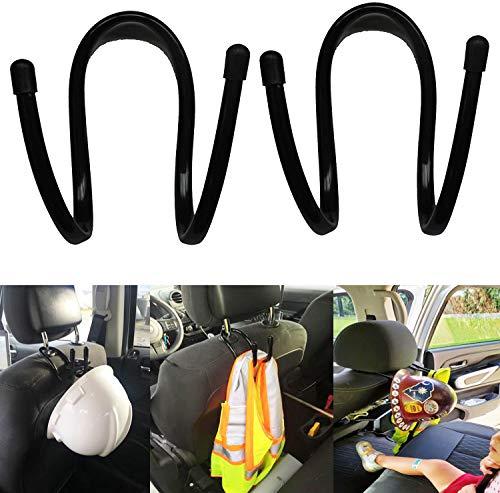 ( Upgraded ) Flexible Over The Car Seat Hard Hat Rack Holder - Portable Helmet Hanger Rack Hook for Coats, Hats, Caps, Vest holder, Safety Helmet, Fire Helmet, Motorcycle Helmet — 2/PK- No Helmet