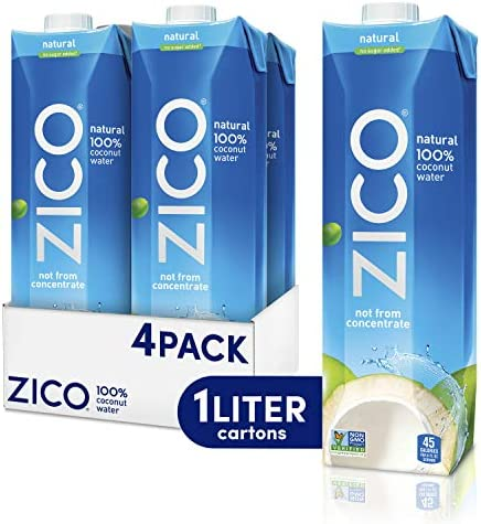 Zico Premium Natural Coconut Water Drinks Gluten Free 33 8 fl oz 4 Pack product image