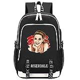 Riverdale Mochila con impresión de mochila escolar mochila para ordenador portátil, mochila multifuncional con puerto de carga USB para auriculares, 3 (Negro) - HM201204003