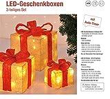 Bambelaa! 3er Led Deko Geschenke Leucht Boxen Timer Weihnachts Dekoration Weihnachtsdeko Beleuchtet Deko Weihnachten (Gelb) - 7