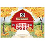 Allenjoy 7x5ft Fall Red Farm Backdrop for Photography Watercolor Autumn Great Pumpkin Patch Halloween Farmland Newborn Children Birthday Background Decorations Photobooth Banner Photo Studio Props