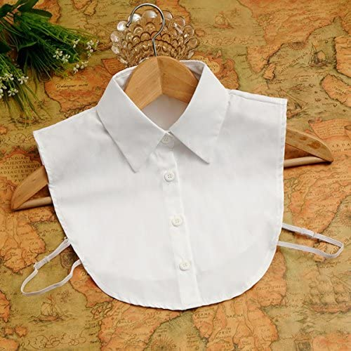 Tinksky Cuello Falso Desmontable Mitad Camisa Blusa para Mujeres (Blanco)