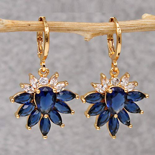 HoopsEarringsForWomen,Fashion Blue Flower Zircon Long Pendant Hoop Earrings Hypoallergenic Lightweight Hoop Ring Circle Jewelry Earrings For Women Girls Party Wedding