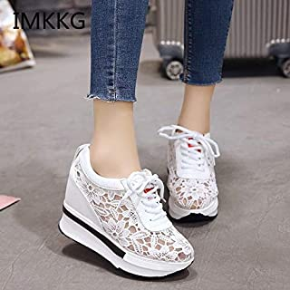Summer New Lace Breathable Sneakers Women Shoes Comfortable Casual Woman Platform Wedge Shoes V182(Black,38)