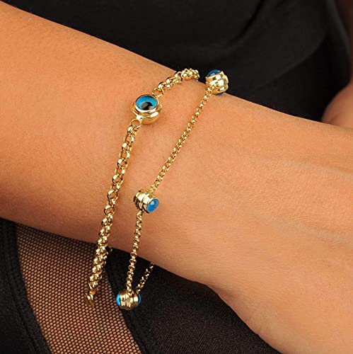 14k Solid Gold Evil Eye Bracelet, With Thicker or Thinner Rolo Chain...