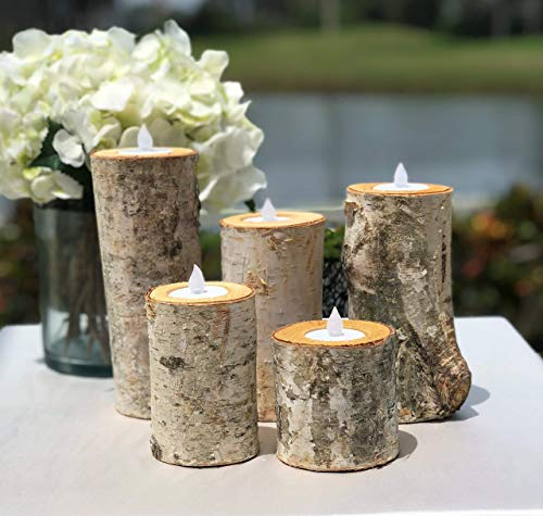 Birch Bark Log Candle Holders Centerpiece - Set of 5 - Votive Tea Light - Rustic