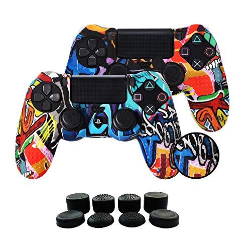 Fundas para Mando PS4/PS4 Pro/PS4 Slim Dualshock 4, Silicona Carcasa Protectora Antideslizante para Play 4/playstation 4( 2 × vistoso Personalizado cubierta de Mando PS4 + 8 × Grips para Pulgares PS4)