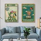 CDERFV El Pensamiento psicológicamente Positivo Debe Hacer lo Que quiera póster Lienzo Pintura impresión Arte de la Pared Imagen decoración para el hogar-40x60cmx2 (sin Marco)
