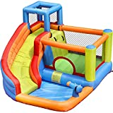 Centro de Juegos Inflable, Centro de Atracciones de Agua Inflatable Bouncy Castle with Water Slide for Kids Oxford Fabric Palm Treeadecuado para plazas Jardines, césped Patios Fiestas etc.