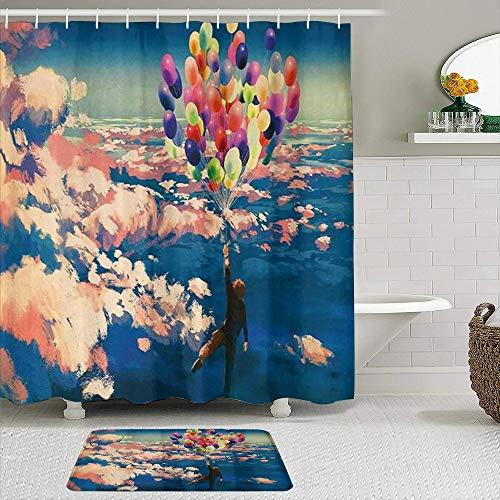 GOCHAN Juego de Cortinas de Ducha de 2 Piezas con alfombras Antideslizantes Hombre Aventurero Volando con Globos de Colores en el Cielo sobre Las Nubes Estampado de Pintura milagrosa