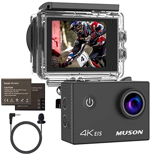 MUSON(ムソン) アクションカメラ 4K高画質 スポーツカメラ 手振れ補正 30M防水 WiFi搭載 170度広角レンズ1050mAh容量 ウェアラブルカメラ