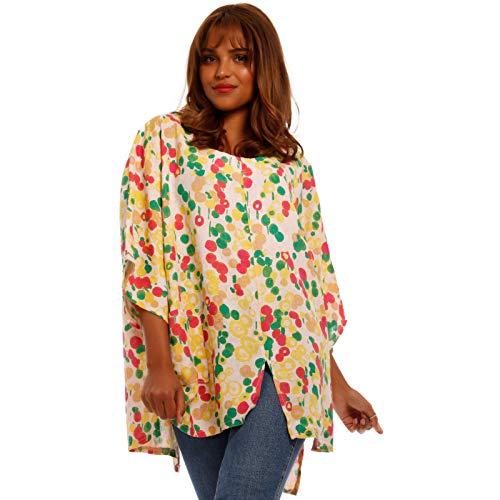 Damen Leinen Shirt Tunika Curvy Long Shirt mit Allover - Druck Strandshirt Freizeitshirt Plus-Size Oversize Made in Italy