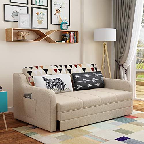 Sofá Cama Convertible 3 En 1, Sofá Cama Nórdico Plegable Multifuncional Doble De Tela para Sala De Estar Perezoso, Adecuado para Muebles De Dormitorio De Apartamentos,Caqui,1.96M