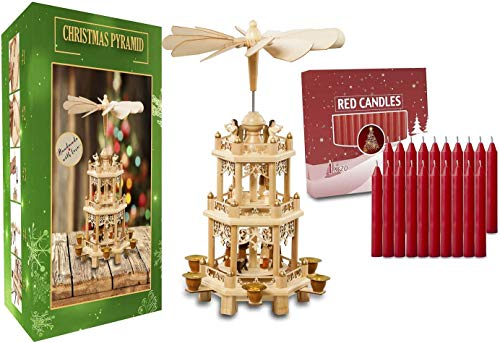German Christmas Decoration Pyramid and 20pcs Red Candles Included-Wood Nativity Scene -Christmas and Tabletop Holiday Decor-3 Tiers Carousel-6 Candle Holders-German Design (18 Inches 2.0, Natural)