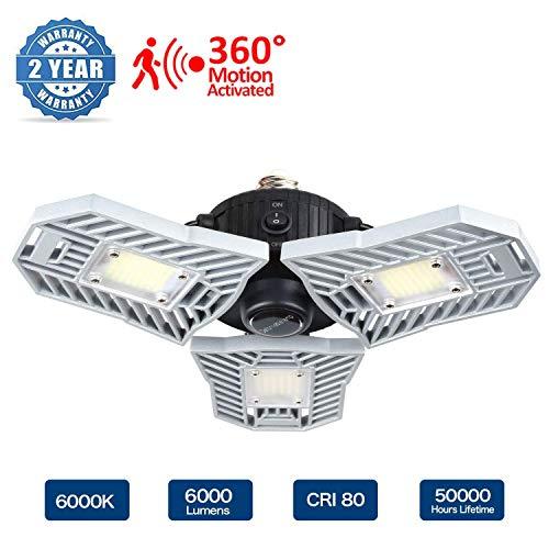 SOARLL-A LED-garageverlichting, door beweging geactiveerde garagelamp 60 W, 6000 lm, vervormbare garageverlichting, LED-garage-binnenverlichting met 3 instelbare panelen, garageplafondlampen (bewegingsak