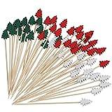 OOTSR Paquete de 100 púas de madera con forma de árbol de Navidad, palillos de cóctel de 5.2...