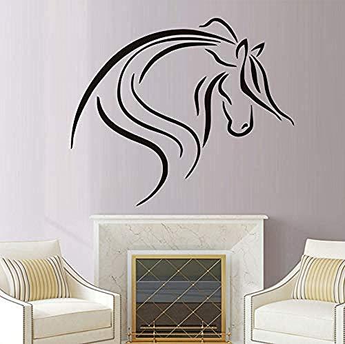 Persoonlijkheid Muurstickers Creatieve Lijn Tekenen Zwart Paard Hoofd Paard Decals Vinyl Afneembare Huisdecoratie Woonkamer Muurstickers Decoratie 44X37Cm