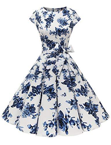 Dressystar Damen Vintage 50er Cap Sleeves Dot Einfarbig Rockabilly Swing Kleider Blaue und Weiße Blumen S
