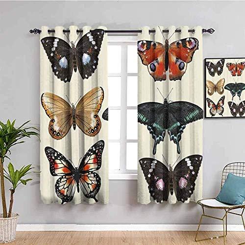 LucaSng Cortinas de Opacas - Color Moda Animal Mariposa - 234x230 cm - para Sala Cuarto Comedor Salon Cocina Habitación - 3D Impresión Digital con Ojales Aislamiento Térmico Cortinas