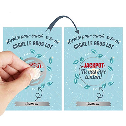 O³ Carte a Gratter Annonce Grossesse | 8 Tickets a Gratter | Annonce Grossesse mamie, papy,...