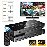 Iseebiz 4K HDMI Multi-Viewer, 4K@30Hz/2K@60Hz 4 in 1 Out HDMI Screen Splitter with Sound Switch 5 Modes, Seamless Switch for Gaming, Exhibition Hall, Video Meeting, Surveillance, Display Mall etc.