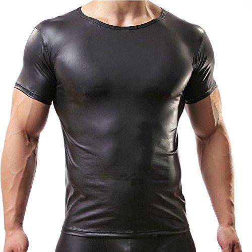iEFiEL Herren Lackleder Shirt Hemd Kurzarm Wetlook Glänzend Top Shirt Fitness Slim Fit (M)