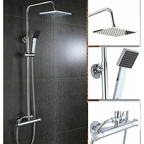 Grifos de baño con cabezal de ducha de lluvia y ducha de mano 38 ℃ sistema de ducha termostático de latón cromado