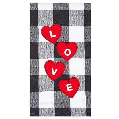 C&F Love Red Hearts Black White Plaid Franklin 27 x 18 Cotton Decorative Hanging Hand Towel