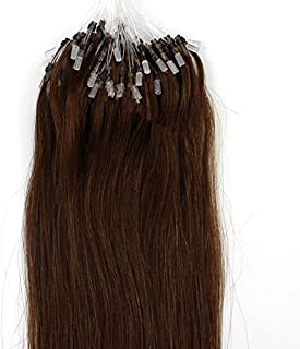 100s 16'' 18'' 20'' 22'' 24'' 26'' Loops Micro Rings Beads Tipped Remy Human Hair Extensions Straight 10 Colors in Women Beauty Style (16inch 0.4g/s 100s each pake, 04 medium brown)