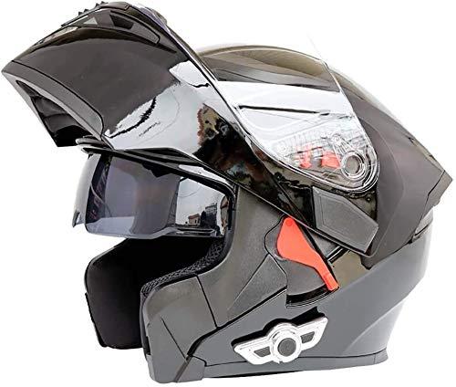 TKTTBD Bluetooth De Motocicleta Casco, Modular De Doble Visera Cascos Integrales ECE Certificado Casco Incorporado En Integrado De Intercomunicación Sistema De Comuni Adultos Unisex