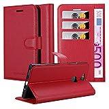 Cadorabo Hülle für Sony Xperia XA2 Plus - Hülle in Karmin ROT - Handyhülle mit Kartenfach & Standfunktion - Hülle Cover Schutzhülle Etui Tasche Book Klapp Style