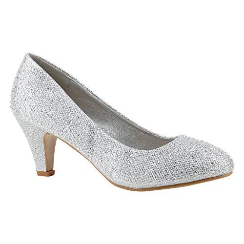 Klassische Damen Pumps Kitten Heels Leder-Optik Absatz Business Schuhe 144271 Silber Strass Berkley 37 Flandell